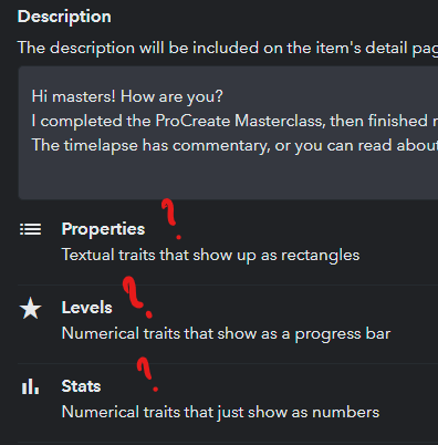 Editing existing NFT shows properties with little explanation
